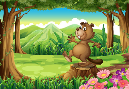 Illustration of a playful brown beaver above the stump Vector