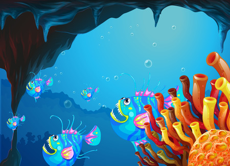 sanctuaries: Illustration of a cave under the sea with a school of fish