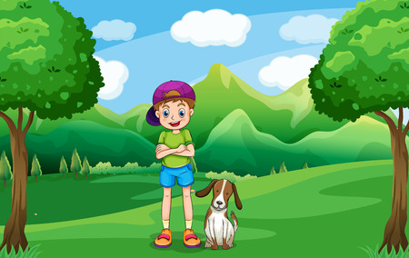 Illustration of a young boy standing in the middle of the trees with his pet Vector
