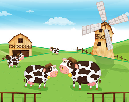 Illustration of the goats at the farm with a windmill Vector