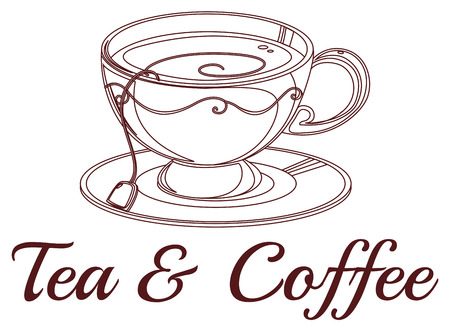 melaware: Illustration of a tea and coffee label on a white background Illustration