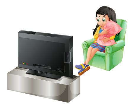 Illustration of a young girl watching TV on a white background Vector