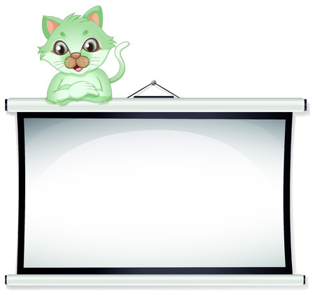 border cartoon: Illustration of a green cat above the whiteboard on a white background Illustration