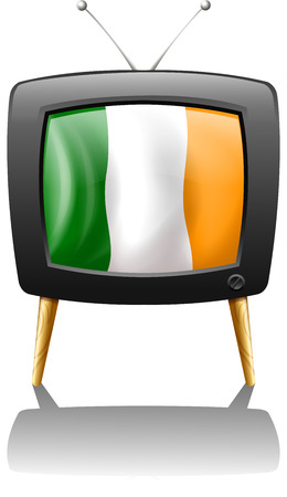 Illustration of a television showing the flag of Ireland on a white background Vector