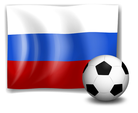 footwork: Illustration of the flag of Russia at the back of a soccer ball on a white background Illustration