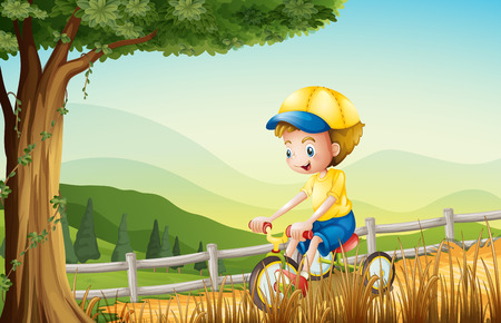 cartoon biker: Illustration of a young boy playing with his bike