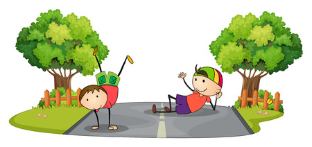 Illustration of the two kids playing in the middle of the road on a white background Vector