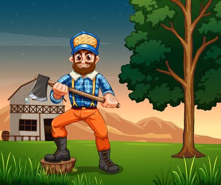 barnhouse: Illustration of a lumberjack standing near the tree while holding a sharp axe Illustration