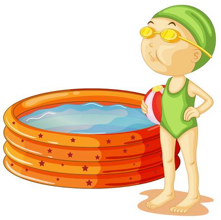 enfant maillot de bain: Illustration d'un jeune nageur sur un fond blanc Illustration