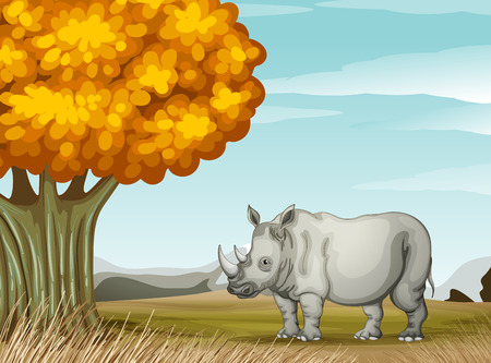 Illustration of a rhinoceros near the tree Vector