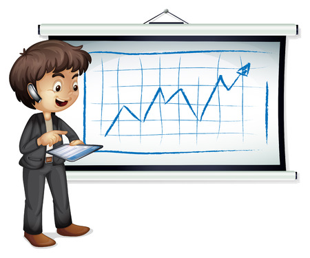 Illustration of a young businessman standing in front of the whiteboard with a gadget on a white background Vector