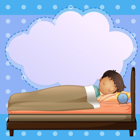 boys cartoon: Illustration of a boy sleeping soundly with an empty callout