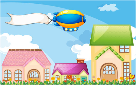 Illustration of a balloon above the village with an empty banner Vector