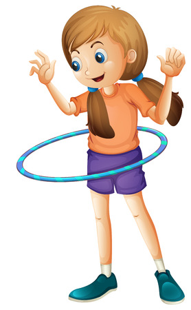 Illustration of a pretty teenager playing with the hulahoop on a white background Illustration
