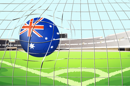 Illustration of a ball with the flag of Australia touching the net