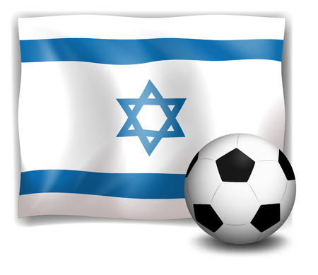 footwork: Illustration of the flag of Israel at the back of a soccer ball on a white background