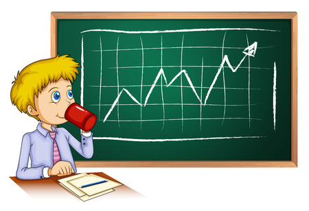 Illustration of a man drinking coffee in front of the blackboard on a white background Vector