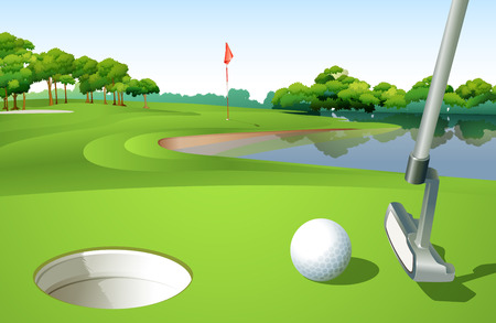 activity cartoon: Illustration of a golf course