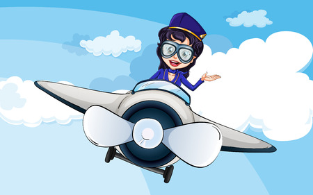 Illustration of a hostess on a plane Vector