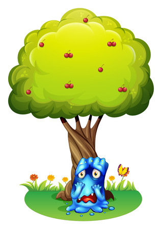 Illustration of a sad monster under the cherry tree on a white background