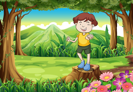 Illustration of a young gentleman standing above the stump Vector