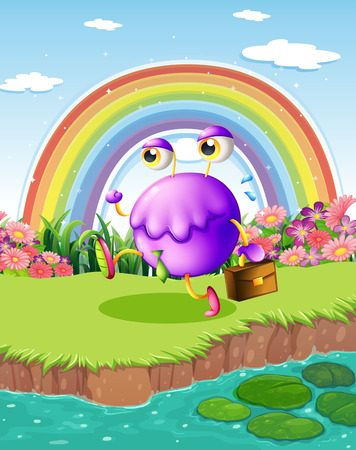 Illustration of a monster walking near the pond with a rainbow in the sky