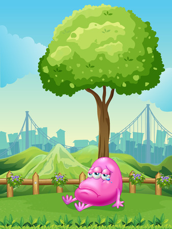 pink hills: Illustration of a monster crying under the tree across the mountain