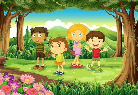 playmates: Ilustración de un bosque con cuatro hijos