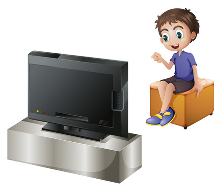 Illustration of a young man watching TV on a white background Иллюстрация