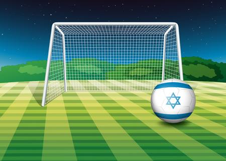 israel people: Illustration of a football field with the flag of Israel Illustration