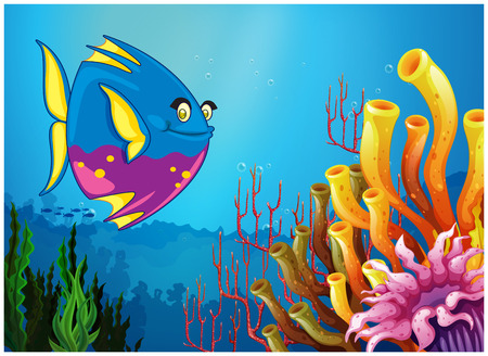 Illustration of an underwater view with a big fish and beautiful coral reefs on a white background Vector
