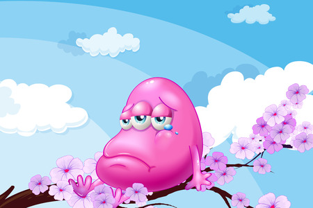 teary: Illustration of a pink monster at the branch of a tree Illustration