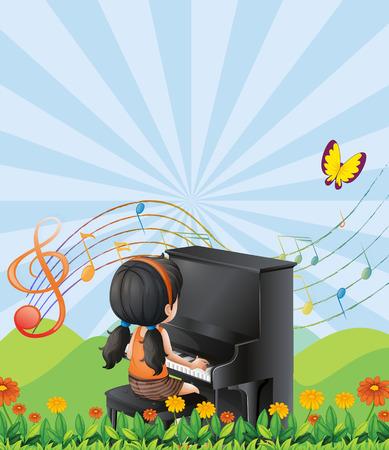 zeichnung: Illustration von einem Mädchen, das mit dem Klavier auf den Hügeln
