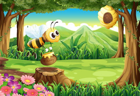 Illustration of a bee carrying a pot of honey at the forest Vector