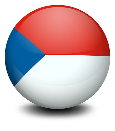 footwork: Illustration of a ball with the flag of Czech Republic on a white background