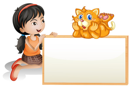 Illustration of a young girl holding the empty signboard with a cat on a white background Stock Vector - 26443963