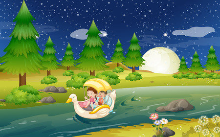 Illustration of a river with a floating boat with kids Vector
