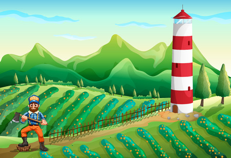 Illustration of a farm with a tower and a lumberjack Vector