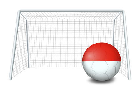 footwork: Illustration of a soccer ball with the flag of Monaco on a white background