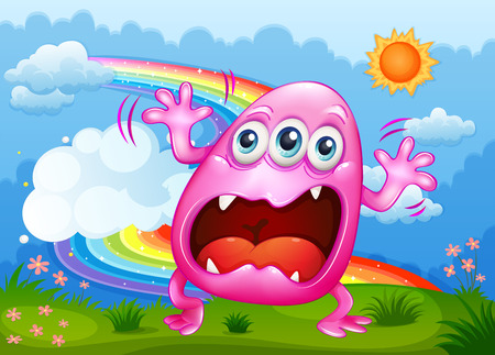 scorching: Illustration of a monster shouting at the hilltop