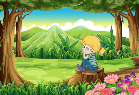 Illustration of a sad girl sitting above the stump at the forest