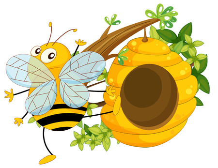 Illustration of a big fat bee near the beehive on a white background Vector
