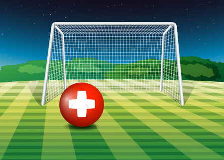 footwork: Illustration of a football field with the flag of Switzerland Illustration