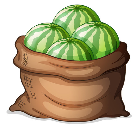 Illustration of a sack of fresh watermelons on a white background Vector