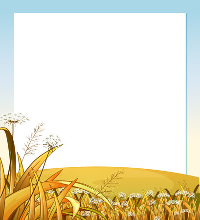 menu land: Illustration of an empty template with a hilltop with plants