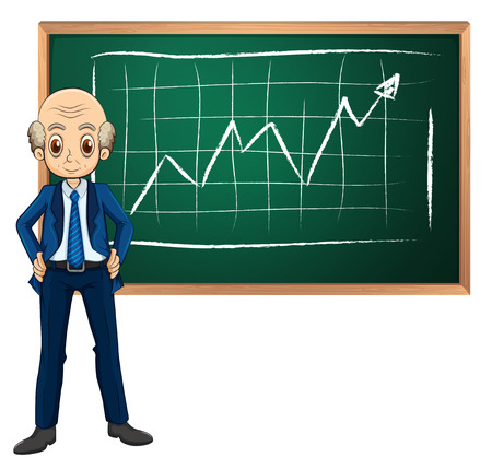 blackboard cartoon: Illustration of an old businessman in front of the blackboard on a white background