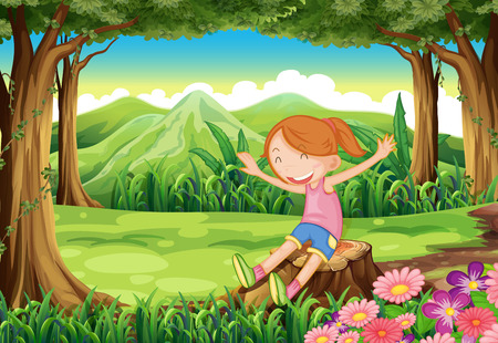 child sitting: Illustration of a playful child sitting above the stump at the forest Illustration