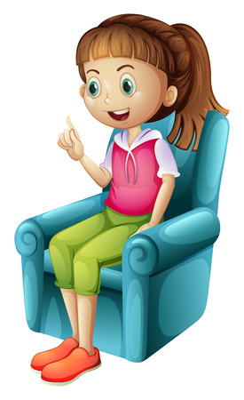 Illustration of a smiling young girl sitting on a white background Vector