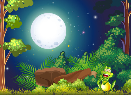 Illustration of a forest with a smiling frog near the rock Vector
