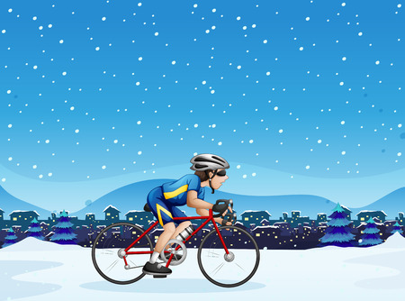 snow tire: Illustration of a man biking Illustration